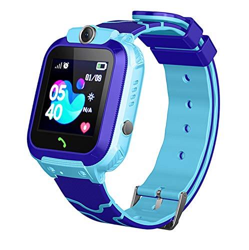 linyingdian Smartwatch Niños, Reloj Inteligente Niña IP67, LBS, Hacer Llamada, Chat de Voz, SOS, Modo de Clase, Cmara, Juegos, Regalo para Niños de 3-12 años, soporta 2G tarjetáas Micro SIM (Azul)