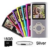 Ueleknight Lettore MP3 MP4 Micro SD 16G, lettore musicale digitale portatile/lettore video/e-book/immagini, lettore musicale economico schermo da 1,8 pollici -argento