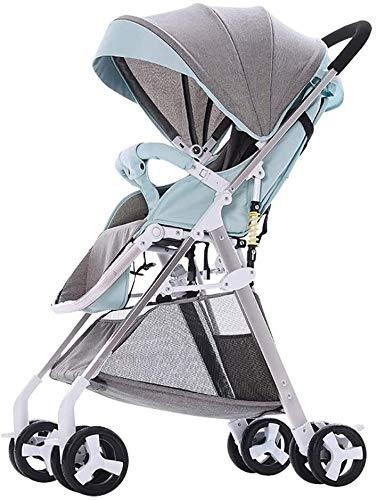 LOXZJYG Cochecito de sillas de Cochecito Convertible Compacto, Cochecito de Cochecito Plegable Anti-Shock, arnés de 5 Puntos y Canasta de Alto Almacenamiento (Color: Gris) (Color : Green)
