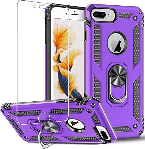 iPhone 8 Plus,iPhone 7 Plus,iPhone 6S Plus/6 Plus,Protector de pantalla de 360 grados de rotación de metal anillo delgado de absorción de golpes con esquinas reforzadas de silicona TPU 5.5' púrpura