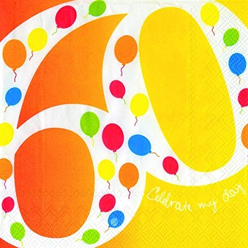 IHR - Ideal Home Range GmbH 60 Geburtstag Serviette Ballons Lebensjahr 20 Stück 3-lagig 33x33cm