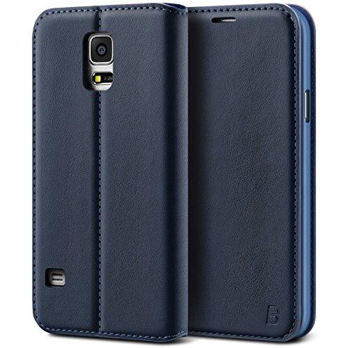 BEZ Hülle für Samsung Galaxy S5 / S5 NEO Hülle, Handyhülle Kompatibel für Samsung Galaxy S5 / S5 NEO Tasche, aus Klappetui mit Kreditkartenhaltern, Ständer, Magnetverschluss - Marine