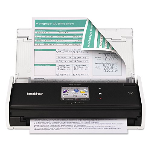 Buy Discount Brother ADS1500W ImageCenter ADS-1500W Wireless Compact Scanner, 600 x 600 dpi, 20 Shee...