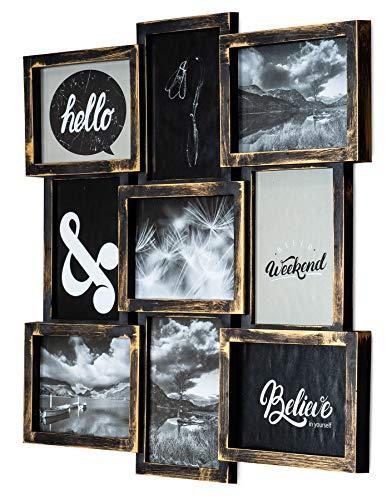 levandeo Bilderrahmen Collage 52x52cm 9 Fotos 13x18cm Kupfer Industrial Glas Fotorahmen Galerie Wanddeko