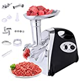 Electric Meat Grinder, Sausage Maker with Handle Machine Rotatory, Locking Power 2800W Max Meat Grinder, 4 Cutting Plates for Different Kinds of Ingredients (Black)
