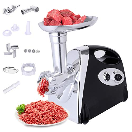 jianama Electric Meat Grinder, Meat Grinder Sausage Maker, Meat Grinder with Handle Machine Rotatory, 4 Cutting Plates Meat Mixer Grinder for Different Kinds of Ingredients (Black)