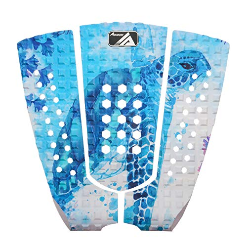 3 Piece Gray Stomp Pad Surfboard EVA Traction Pad with 3M Adhesive Professional Tail Pad/Applies All Boards - Surfboards, Shortboards, Longboards, Skimboards (sea Turtle)