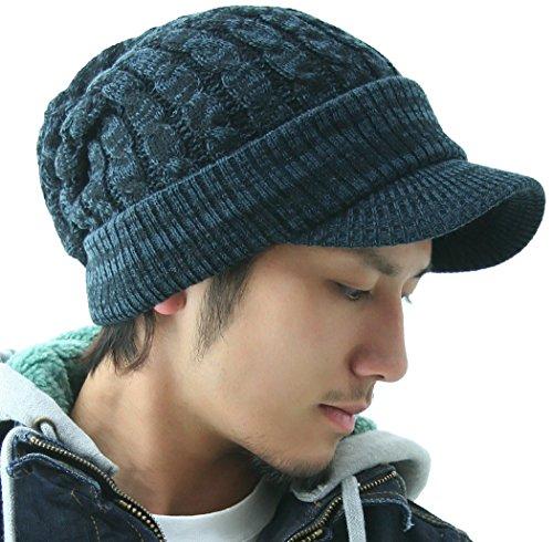 『cielhat(シエルハット) ツバ付き細ケーブルニット帽子ジープ 男女兼用 メンズ レディース ブラック×グレー』のトップ画像