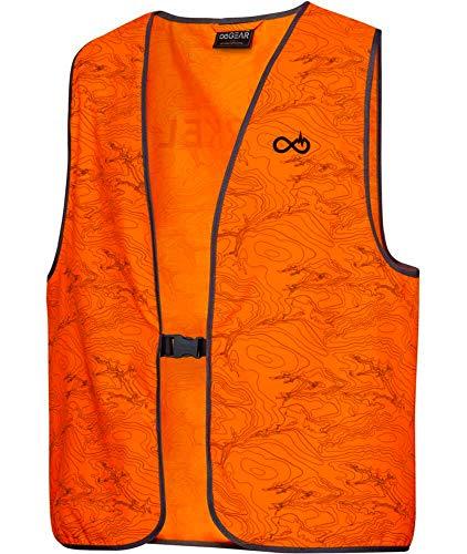 K&S Wildkameras Merkel GEAR HighViz Vest Topo-Line Warnweste Jagd Signalweste Blaze Orange Drückjagd Treibjagd Unisex