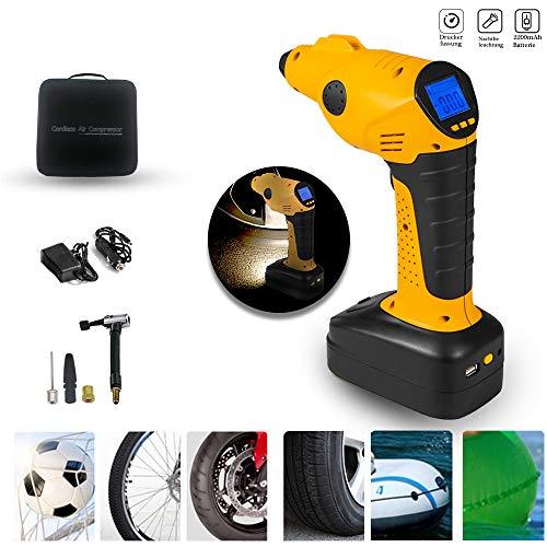Aufun Auto Luftpumpe Elektrischer Kompressor mit Akku 12V Luftkompressor Tragbare Reifenpumpe mit LCD Display Digital Manometer Ink. 3 Ventil-Aufsätzen, Wiederaufladbare Beleuchtungssockel