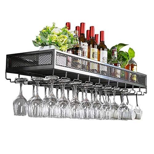 Mueble para vinos Unidad de bar Estantes flotantes Estante para vinos | Del techo del hierro del metal del estante de la pared del desván | Botelleros de almacenamiento | Botella de vino colgante y