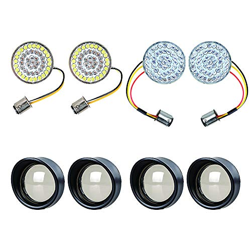 Set of 2-inch 1157 48-LED 2X AMBER/WHITE Turn Signal DRL + 2X RED Rear Light Brake Stop Lamp + 4X Visor-Style Bezels Smoke Lens