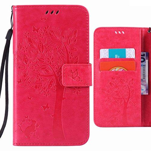 Ougger Handyhülle für Samsung Galaxy A5 A500F Hülle Tasche, Baum Katze Druck BriefHülle Tasche Schale Schutzhülle Leder Weich Magnetisch Stehen Silikon Cover mit Kartenslot (Rosa)