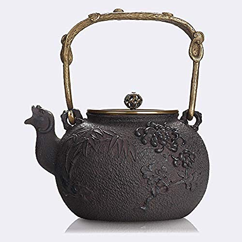 Jooyouo-TH Teiera Giapponese Teiera in Ghisa BollitoreGhisa Vaso di Ferro Pentola di Ferro Vecchio Vaso di Fiori Volanti Set da tè Teiera Bollitore Ferro da Stiro 1.5L Colore caffè