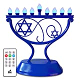 Ner Mitzvah LED Electric Hanukkah Menorah - Color Changing LED Traditional Whimsical Chanukah Menorah with Remote - Battery or USB Powered - Included - Blue