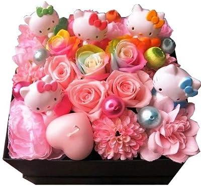 誕生日プレゼント キティ入り 花 フラワーギフト キティいっぱい4個入り レインボーローズ プリザーブドフラワー入りギフト 箱開けてスマイル ボックス(L)入りプリザーブドフラワー