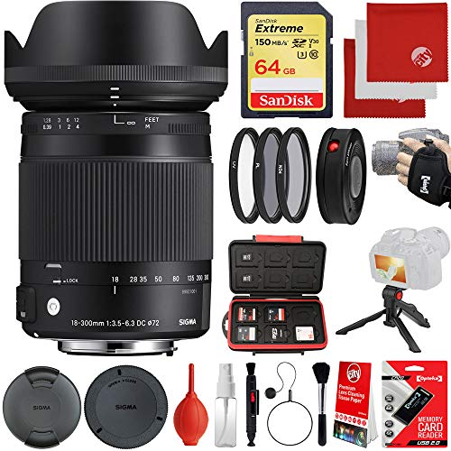 powerful Sigma 18-300 mm 1: 3.5-6.3 DC Macro OS HSM Contemporary Lens Canon EF-Mount Bundle, 64 GB…