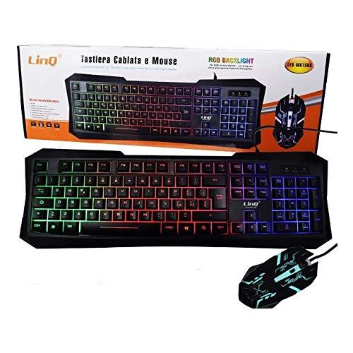 Teclado y ratón retroiluminados Gaming con cable USB LINQ...