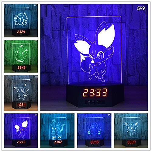 Pikachu Pokeball 3D Illusion Kalender Uhr Lampe 7 Farben Ändern Pokemon Go Action Figure visuelle Illusion LED Nachtlichter han-10597