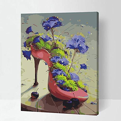 DMLGQ DIY digitaal schilderij, olieverfschilderset, zelfgemaakte decoratie, canvas kleurschilderen, 16 * 20 inch 40 * 50 cm, vaas met hoge hakken Ingelijst