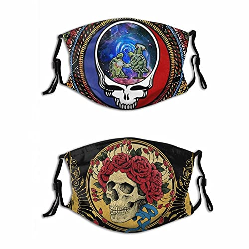 2PCS Grateful-Dead Colorful Face Mask Washable Reusable Dust-Proof Balaclava Bandana Neck Gaiter Adjustable Face Cover for Adults Kids Men Women Boys Girls Made in USA Medium
