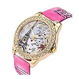 Women's Wrist Watch Vintage Paris Eiffel Tower Crystal Leather Quartz Wristwatch Best Gift (Hot Pink)