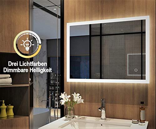 Meykoers Wandspiegel Badezimmerspiegel LED Badspiegel mit Beleuchtung 80x60cm mit Touch Schalter und Beschlagfrei, Lichtspiegel Dimmbar Warmweiß/Kaltweiß/Neutral 3000K-6400K