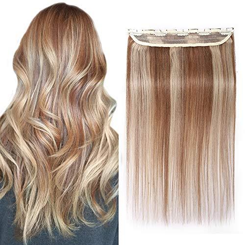 SEGO Extension à Clip Cheveux Naturel - Rajout Vrai Cheveux Humains Tout Droit Lisse Clip In Hair Extension Une Seule Bande avec 5 Clips - 30 CM 12P613#Brun Doré & Blond Blanchi [ Volume Standard ]
