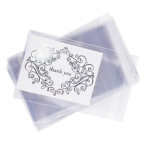 Clear Resealable Display Cellophane Bags Gift Treat Basket Supplies, Adhesive Closure for Snacks, Cards, Envelope Letters, Candy, Party Supplies (100 Bags) by Super Z Outlet (5 x 7)
