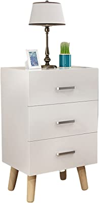 Bedside Table Nordic Style Bedside Tables White Easy to Install Bedside Table with Drawers with Solid Wood Legs Small Bedside Tables Bedroom Lockers,Triple Draw