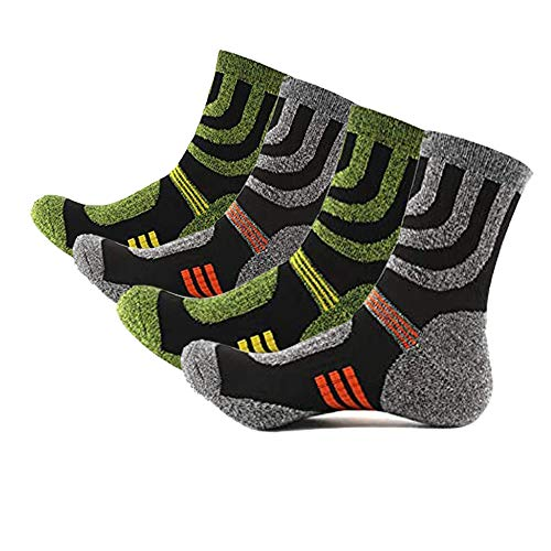 4 Pairs Men s Hiking Sock, Anti-Blister Arch Support Padded, Sweat Wicking Breathable Trekking Walking Athletic Socks