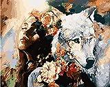 HAO Pintura al óleo de Bricolaje por números Pintura por número para decoración del hogar Pintura al óleo Lobo y Dama 40x50cm Sin Marco