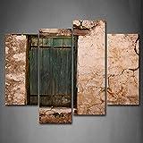 Shabby Wand mit Old Fenster in grün Art Wand die Bild