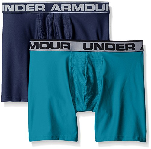 "Under Armour Men's Original Series 6"" Boxerjock, Midnight Navy /Turquoise Sky, Large, Pack of 2"