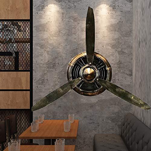 FPigSHS Decoración de Pared de hélice de avión de Metal Retro, esculturas de Pared estéreo 3D Hechas a Mano de Hierro, hélice Decorativa para Bares/Loft/cafés/Restaurante/Tienda, L27.6×H25.6in