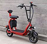 XIAOXIAO Electric Scooter, 48V 8A Adult Mini Two-Seater Electric Motorcycle, Portable Folding 10-Inch Scooter, Suitable for Daily Office Work,Red