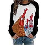 Womens Cock Print Sweatshirts Long Sleeve O-neck Tops Casual T-shirts Solid Color Splicing Pullover Tops Blouse