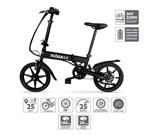 Nilox X2, velo electrique pliable, Vélo électrique pliant, 16'' pouces, E-bike, Vitesse maximale 25 km/h, Noir