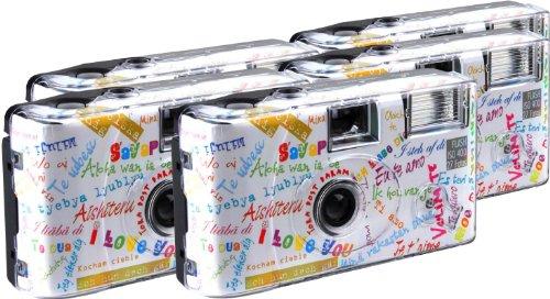 TopShot I mog di weiss Einwegkamera / Hochzeitskamera (27 Fotos, Blitz, 5-er Pack)