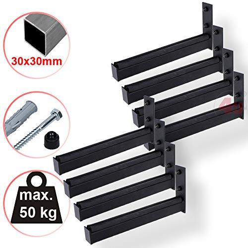 4U® 8 x Wand-Reifenhalter 31cm, 50kg, (30x30mm) Reifenhalter Wandhalterung Felgenhalter Wandhalter Reifenständer Felgenregal Reifenhalterung Reifenwandhalter