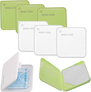6 Pack Case for Face Mask Storage Bag Mask Case Portable Clear Mask Storage Box Face Cover Container Case for Mask Plastic Organizer