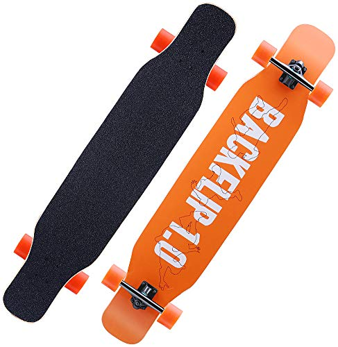 MQLOON Longboard Pro Skateboard, Cruiser Trick Skateboard, completo in legno di acero canadese, nero Longboard per principianti, adulti, adolescenti, ragazze e bambini, backflip