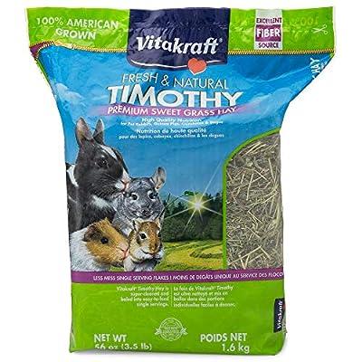 Vitakraft Timothy Hay, Premium Sweet Grass Hay, 100% American Grown, 56 Ounce Resealable Bag by Vitakraft