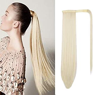 AISI QUEENSLong Straight Ponytail Extension Synthetic Hair 24 Inch Clip in Magic Paste Wrap Around Ponytail Hairpiece for ...