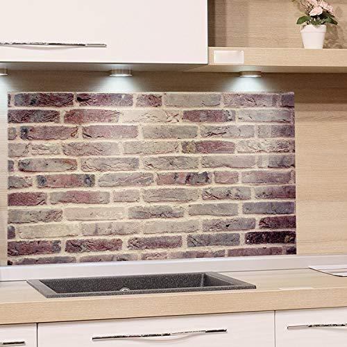 GRAZDesign Küchen-Spritzschutz Glas Küche Herd, Bild-Motiv Steinoptik braun, Glasbild als Küchenrückwand / 80x40cm