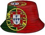 Portugal Textura de madera Bandera portuguesa cubo con estampado unisex Sombreros de pescador pesca plegable reversible de verano Mujeres Hombres...