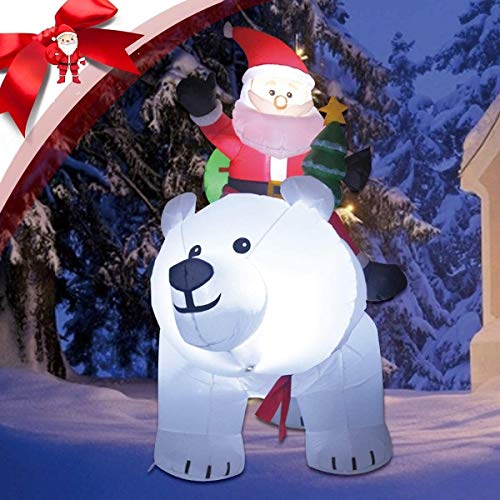 CLTWYZ Inflables Santa Claus Riding sacudidas de Cabeza Gigante del Oso Polar, 6 FT Auto-inflados Decoraciones de Navidad a Prueba de Agua con iluminación LED for el Partido de los niños Al jardín