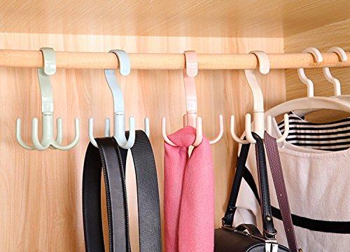 Cinlv Wardrobe Hanging Purse Storage 360° for Purses Handbags Satchels Crossovers Backpacks- 4 Hooks
