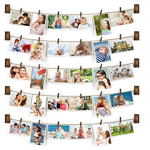 TFu Wall Hanging Photo Display with 30 Wood Clips, DIY Collage Picture Frame Clip String Wall Art Decoration (Brown)