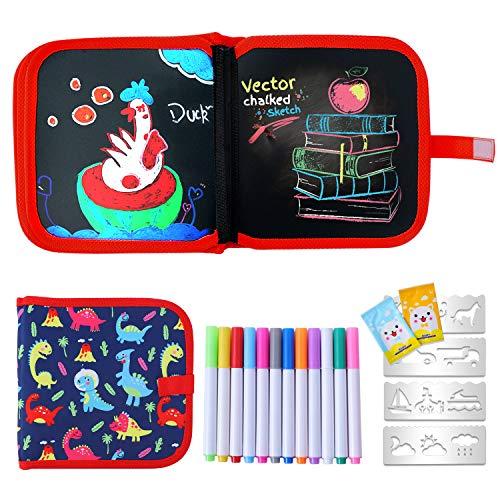 Ulikey Tabla de Dibujo Portátil para Niños, Tablero de Dibujo de Graffiti, Libros Blandos de Pizarra Reutilizable Borrable con 12 Plumas de Colores 14 Página (Dinosaur)